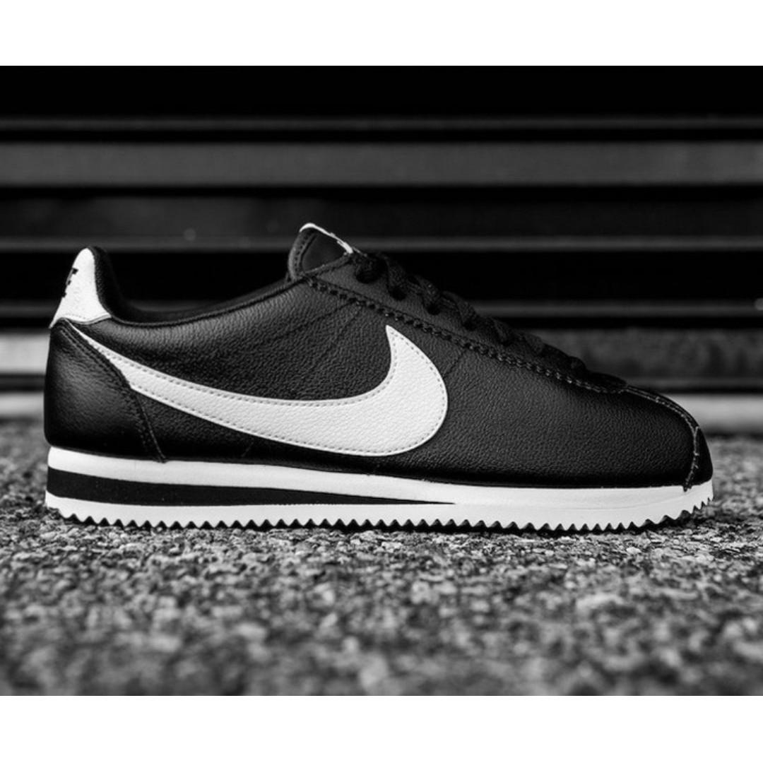 Nike Classic Cortez Leather Black White Olshop Fashion Pria Di Carousell