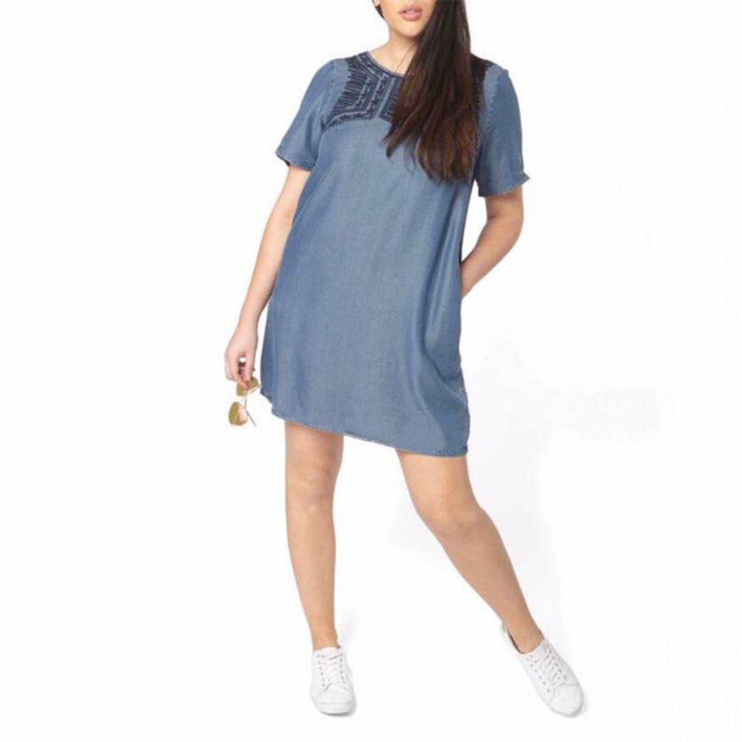 ONHAND Embroidered Plus Size Denim Dress with Pocket