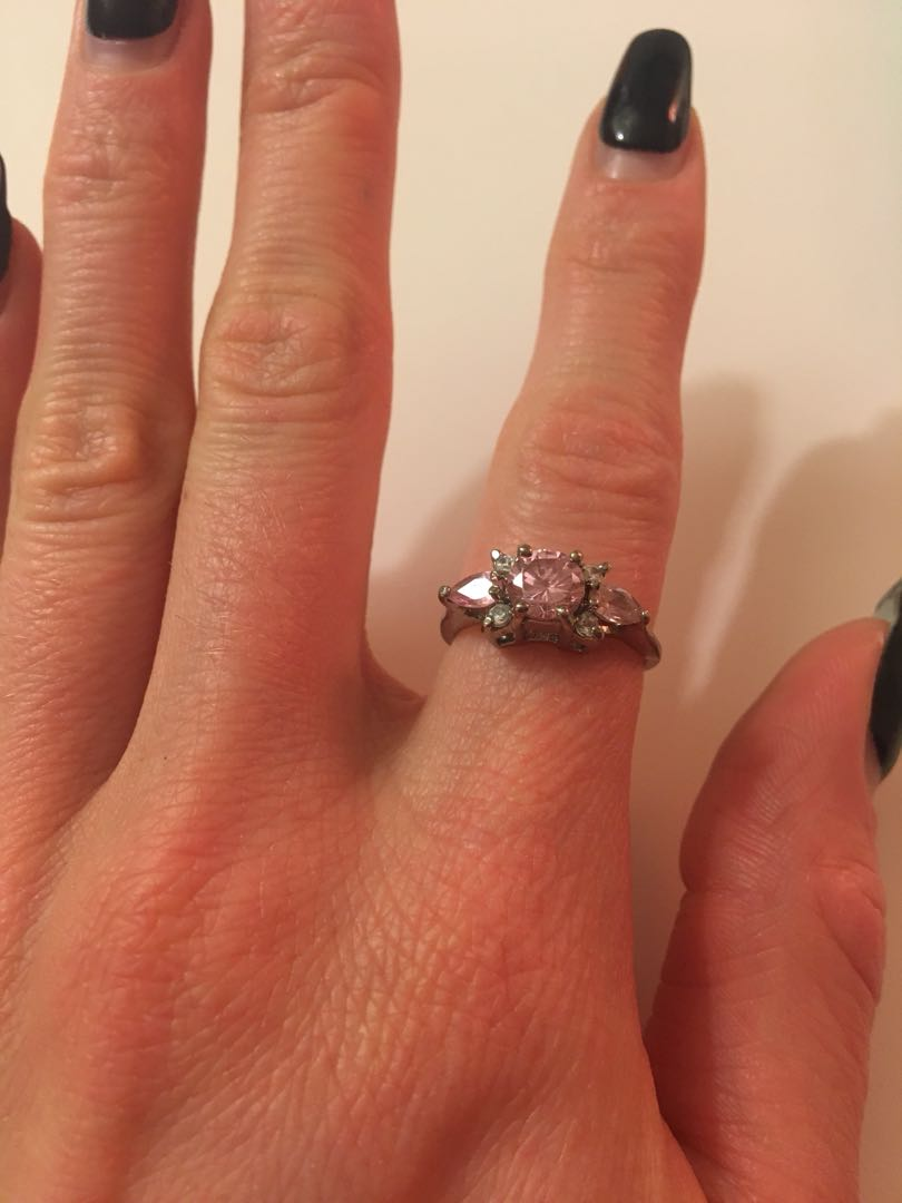 Pink and clear stone ring
