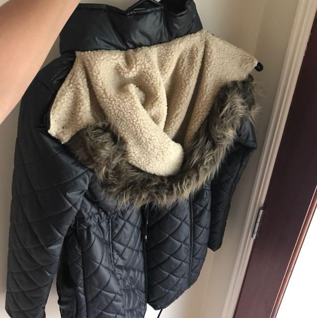 Puffy parka jacket fur lined hood