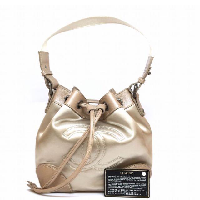 c98214d409a4 QUICK SALE ! Chanel bucket bag in brown caviar satin cream gold ...