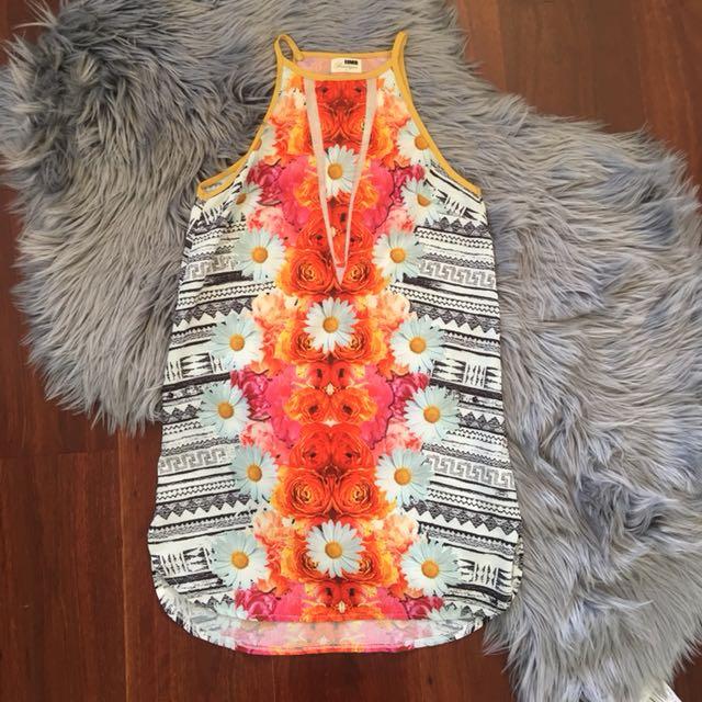 Rumor Orange Aztec V Mesh Mini Dress