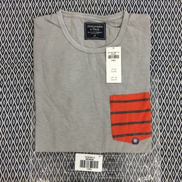 (S) Authentic AnF Long Sleeves Stripes Pocket Tee