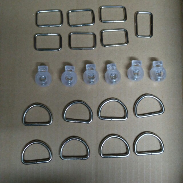 Square ring, D ring, Cord lock for bags