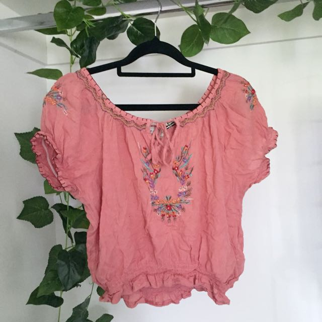 Tree of Life Pink Embroidered Top