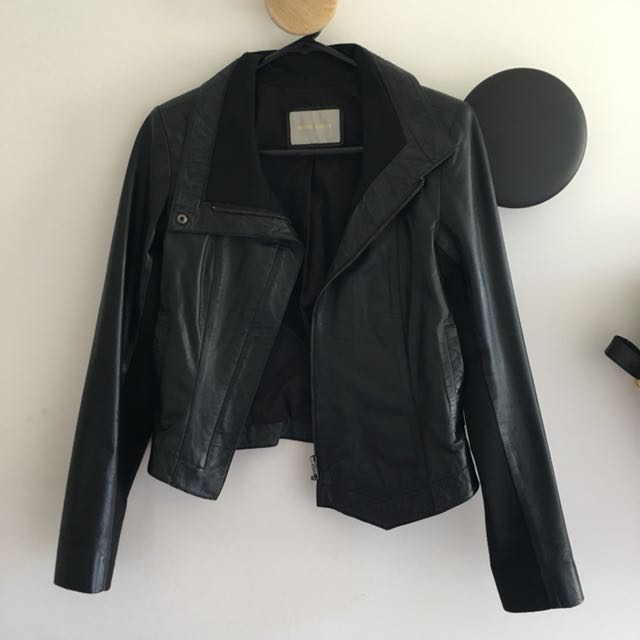 White Suede Black Leather Jacket