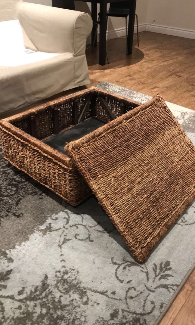 Wicker coffee table with storage