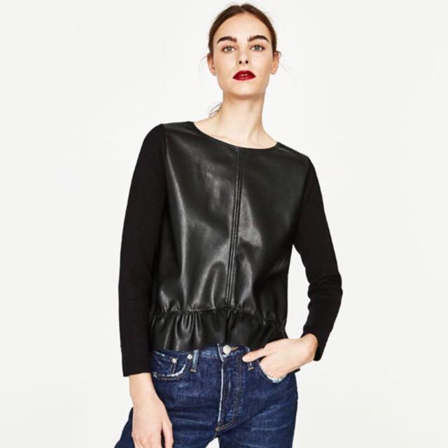 Zara 荷葉邊飾人造皮拼接針織衫 皮上衣 針織上衣(S)