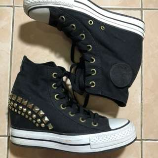 Converse All Star Studded Black Wedge Sneakers