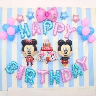 🦄 Happy Birthday Party Decor Balloon Sets - Mickey and Minnie