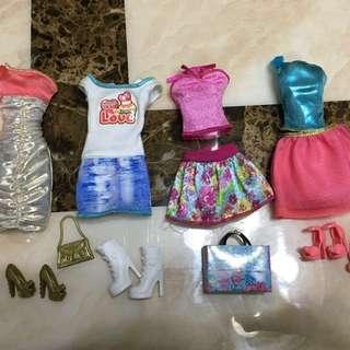 #15%Off 12pcs Barbie set clothes, bag & shoes