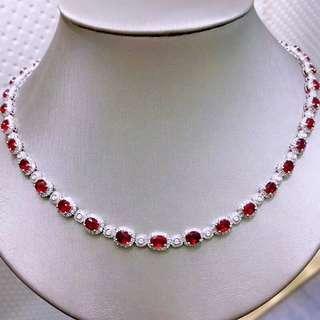 18K白金 紅寶石鑽石項鍊