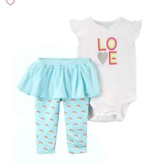 *12M* Brand New Carter's 2-Piece Bodysuit & Tutu Pant Set  For Baby Girl