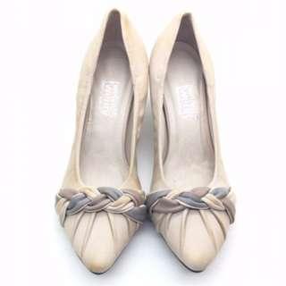 c631ad68af3e twelve15twenty DOLLY Beige Lambskin Leather Braided Design Heels