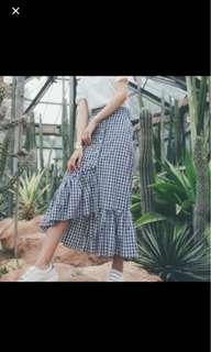 Checkered Midi Ruffles Skirt