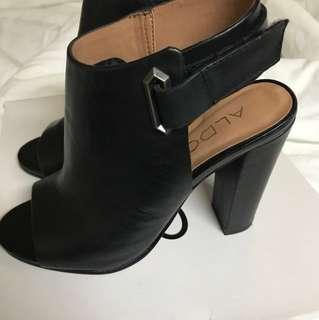 Aldo black peep toe ankle bootie