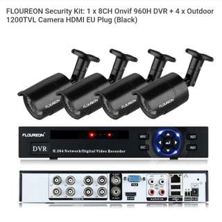 FLOUREON Security Kit: 1 x 8CH Onvif 960H DVR + 4 x Outdoor 1200TVL Camera HDMI EU Plug (Black)