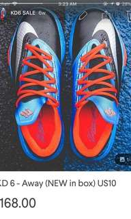 KD 6 - Away (NEW IN BOX) Size US 10 basketball shoes