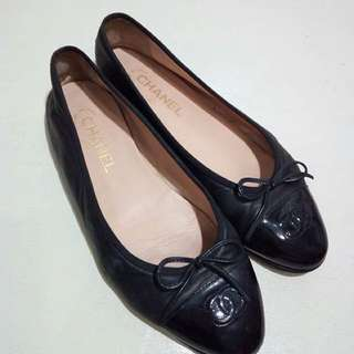 Chanel black flats authentic