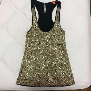 Gold Sequin Racer Back Tank