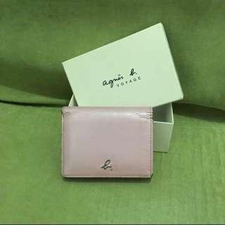 正貨 Agnes b 粉紅色 短型 銀包 有盒