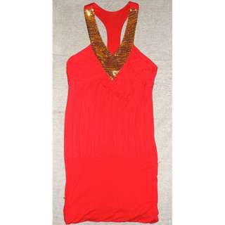 Red Blouse with Gold Sequins