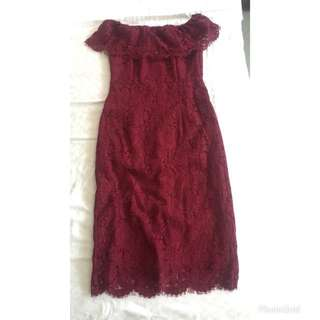Maroon Lace Crotchet Off Shoulder Long Bodycon Dress