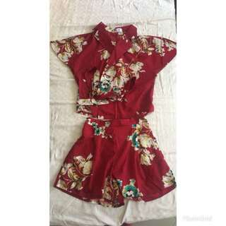 BN Ulzzang Maroon Floral 2 piece top and bottom set