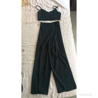 BN Forest Green 2 piece top and bottom (bralet + Long slit pants)