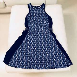 Club Monaco Navy Print Dress (Size 4)