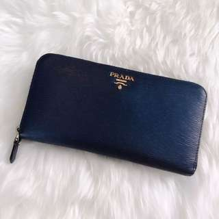 Prada saffiano zip around wallet