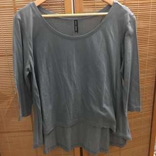 M&S High Low Gray Top