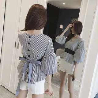 2017秋季新品韓版女裝V領收腰長袖襯衫燈籠袖蝴蝶結白色襯衣上衣