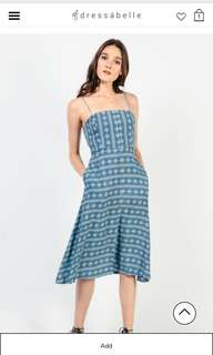 🔥INSTOCK🔥Dressabelle Button Front Cami Midi Dress (Printed Blue)