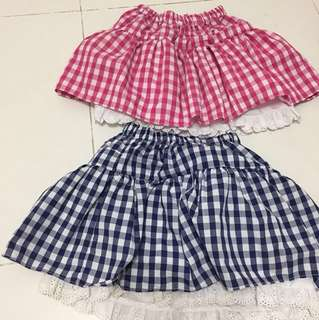 Checkered skirts