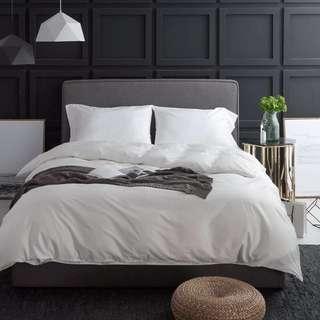《包郵》簡約純色 埃及長絨棉貢緞全棉四件套1.8m床 素色純棉床單床品 六星飯店同款