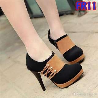 High Heels Fashion 9cm Double Suede Murah Harga Grosir (FR11 Hitam)