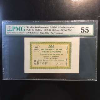 "Rare Variety Emergence🚨 Issue ! 1917 Straits Settlements 10 Cents AG Treasurer Sign, E/3 28312 With ""Singapore"" Print On Banknote PMG 55, Only 84 Pcs Graded In PMG Record. 101 Year Old Banknote Of Singapore History!"