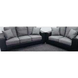 Two Tone/Material (Grey Korean Fabric + Black PU Leather) Sofa Set (2+3 Seater)