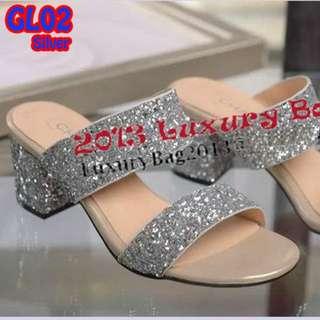 Sandal Kokop Glitters Heels Tahu 5cm (GL02) Emas&Silver
