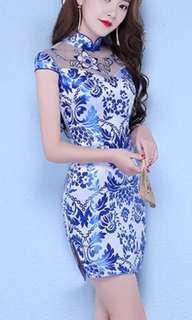 Blue oriental cheongsam 2018