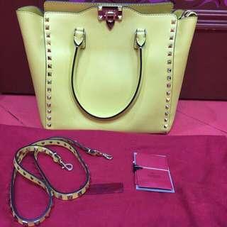 Valentino Rockstud Medium Square Shopper Tote Bag, Yellow