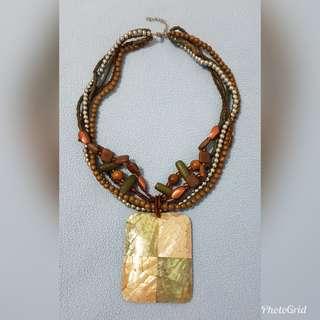 Statement Necklace with Capiz Pendant