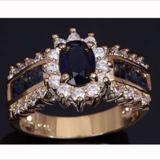 14k Gold filled with Blue Sapphire Ring