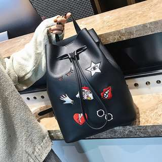 (PO) Embroidery double shoulder bag