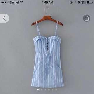 Lace Up Blue Pinstripe Dress