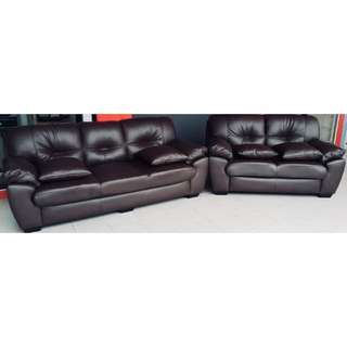 Brown PU Leather Sofa Set (3 Seater + 2 Seater)