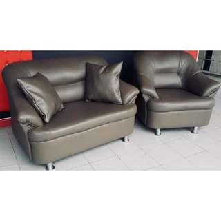 Grey PU Leather Sofa Set (2 Seater + Single Seater)