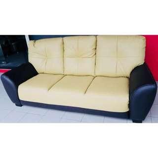 Two Tone (Cream + Brown) PU Leather 3 Seater Sofa