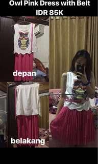 Owl Pink Dress with Belt